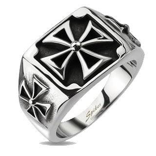Men's Stainless Steel Triple Celtic Cross Ring Jewelry