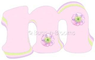 """m"" Pink Purple Green Daisy Flower Alphabet Letter Name Wall Sticker   Decal Letters for Children's, Nursery & Baby's Room Decor, Baby Name Wall Letters, Girls Bedroom Wall Letter Decorations, Child's Names. Flowers Mural Walls De"