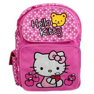 "Sanrio Hello Kitty Pink 16"" Large Backpack School Bag with Bear Apple (JoyAve)"