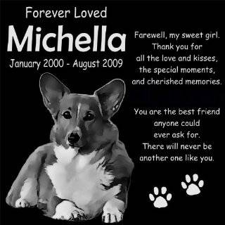 "Personalized Pembroke Welsh Corgi Dog Pet Memorial 12""x12"" Engraved Black Granite Grave Marker Head Stone Plaque MIC2  Pet Memorial Products"