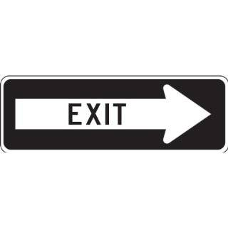 "Accuform Signs FRR296RA Engineer Grade Reflective Aluminum Facility Traffic Sign, Legend ""EXIT"" with Right Arrow, 36"" Width x 12"" Length x 0.080"" Thickness, Black on White"