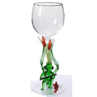 Yurana Designs Hand blown Frog Fisherman Wine Glass W296 Kitchen & Dining