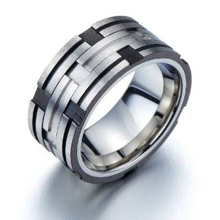 Exquisite Mens Stainless Steel Band Ring Tire Design Silver Black Two Tone 10mm Jewelry