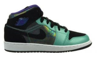 Girls Air Jordan 1 Mid (GS) Retro Big Kids' Basketball Shoes Atomic Teal/Black Ultraviolet White 555112 309 7 Shoes