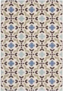 Safavieh VER080 0612 Veranda Collection Indoor/Outdoor Area Rug, 5 Feet 3 Inch by 7 Feet 7 Inch, Cream and Aqua