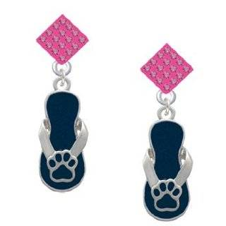 Navy Blue Paw Flip Flop Hot Pink Crystal Diamond Shaped Lulu Post Earrings Jewelry