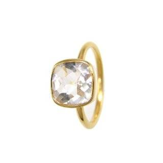 Crystal Clear Quartz rings   Designer Rings   Stackable rings   Gemstone rings   Bezel gold plated rings Pradman Creations Jewelry