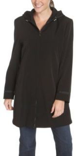 AK Anne Klein Women's Zip Front Hooded 3/4 Length Jacket, Black, Large