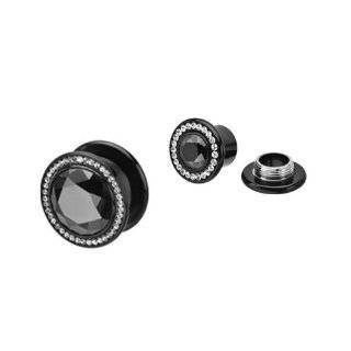 "Clear Gem and Black Titanium Plated Double Flare 316L Surgical Steel Screw Fit Plug   3/4"" (19mm)   Sold as a Pair Jewelry"