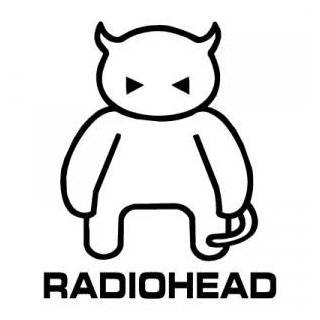 RADIOHEAD DEVIL BAND WHITE LOGO VINYL DECAL STICKER