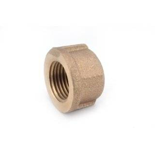 "Anderson Metals 38108 Red Brass Pipe Fitting, Cap, 1 1/2"" Female Pipe"