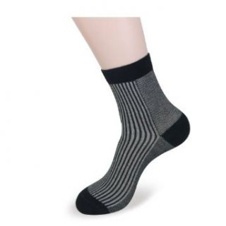 Landisun SN321 3 Pairs Gray Black Stripes Mens Quarter Bamboo Socks Clothing