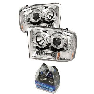 Carpart4u Ford F250 Super Duty / Ford Excursion 1PC Dual Halo LED Projector Headlights G2 Version & Koshin Platinum White Halogen Light Bulbs package Automotive