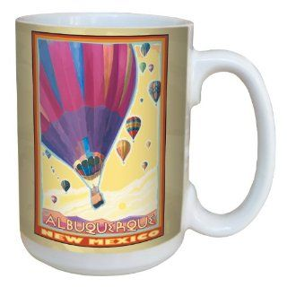 Tree Free Greetings lm43051 Vibrant Albuquerque Hot Air Balloons by Joanne Kollman Ceramic Mug with Full Sized Handle, 15 Ounce, Multicolored Kitchen & Dining