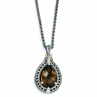 Sterling Silver with 14k Gold Diamond & Smokey Quartz Necklace   Antique Boutique   Vintage Style   Jewelry Reeve and Knight Jewelry