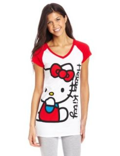 Hello Kitty Women's Big Kitty Grapgic Nightshirt, White/Red, X large Clothing