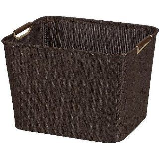 Household Essentials Medium Tapered Bin with Wood Handles, Coffee Linen   Home Storage Baskets