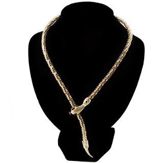 Mesmerizing Gold Tone Snake With Red Eyes Choker Necklace Jewelry