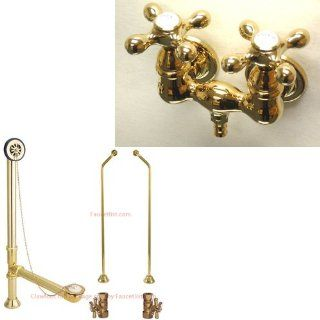 Polished Brass Wall Mount Clawfoot Bath Tub Filler Faucet Package CC37T2 CC37T2system   Bathtub Faucets