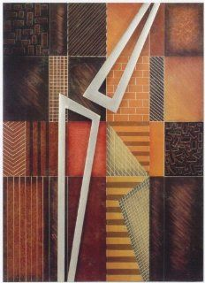 Abstract Painting Wall Decor, antique brown, orange and copper tones with antique silver triangles   Oil Paintings