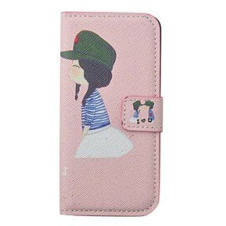 Cartoon Lovely Girl Pattern Leather Full Body Case for iPhone 5/5S(Pink) Cell Phones & Accessories