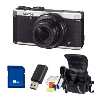 Pentax MX 1 Digital Camera (Silver) Kit. Includes 8GB Memory Card, High Speed Memory Card Reader, Table Top Tripod, LCD Screen Protectors, Cleaning Kit & Carrying Case  Point And Shoot Digital Cameras  Camera & Photo