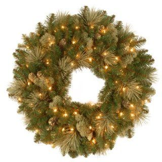 National Tree CAP3 368 24W Carolina Pine Wreath with 14 Flocked Cones and 50 Clear UL Lights, 24 Inch   Christmas Wreaths