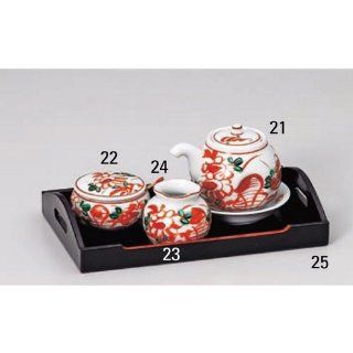 cruet kbu378 21  25 222 [8.47 x 5.12 inch] Japanese tabletop kitchen dish Cruet Seasoning input red flowers and birds Custer set [21.5 x 13cm] inn restaurant Japanese restaurant business kbu378 21  25 222 Kitchen & Dining