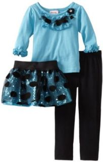 Little Lass Girls 2 6x 3 Piece Legging Set With Ruffles, Turquoise, 2T Clothing