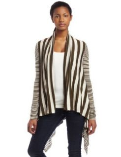 Three Dots Womens Cotton Natural Stripe Open Cardigan, Natural/Sagebrush, Small Clothing