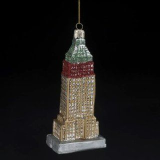 "5"" Noble Gems Red, Gold & Green Empire State Building Glass Christmas Ornament   Decorative Hanging Ornaments"