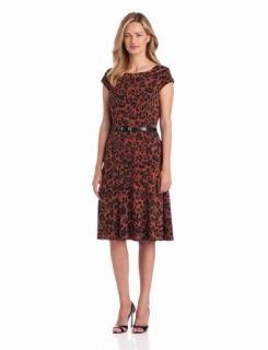 Anne Klein Women's Cap Sleeve Leopard Print Dress
