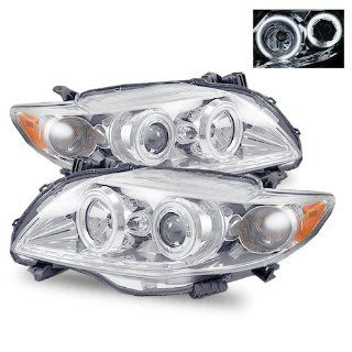 2009 2011 Toyota Corolla CCFL Halo Projector Headlights /w Amber (Chrome) Automotive