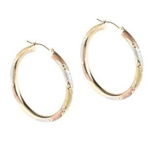 14KT Tri Color Diamond Cut Satin Round Hoop Earrings Jewelry