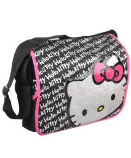 Hello Kitty Glitter Face Signature Black Messenger Bag Clothing
