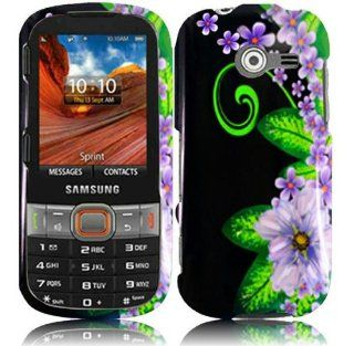 Black Purple Flower Hard Cover Case for Samsung Array Montage SPH M390 Cell Phones & Accessories