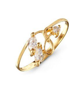 Marquise White CZ Twist Womens 14k Yellow Gold Ring Jewelry