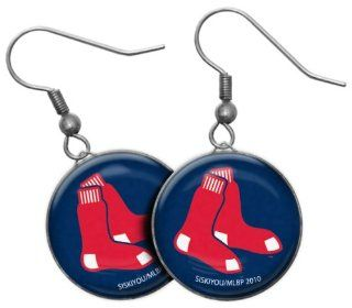 MLB Boston Red Sox Earrings   1 drop, 3/4 inch  Sports Fan Earrings  Sports & Outdoors