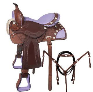 15 16 Leather Barrel Racing Purple Ostrich Seat Western Horse Saddle Sports & Outdoors