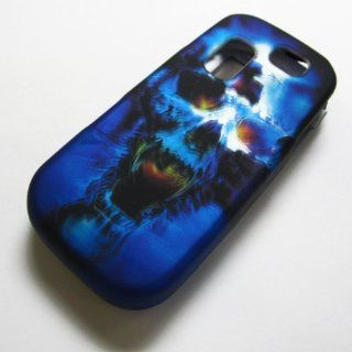 RUBBERIZED HARD PHONE CASES COVERS SKINS SNAP ON FACEPLATE PROTECTOR FOR SAMSUNG SGH T404G STRAIGHT TALK NET10 TRACFONE  OR GRAVITY 2 II SGH T469 T.MOBILE Slide / BLUE SKULL (WHOLESALE PRICE) Cell Phones & Accessories