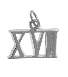 "Roman Numeral Pendant for All Occasions; Anniversary, Birthdays,Milestones, #407.17, 9/16"" Tall w/Loop, Ster., #XVII Jewelry"