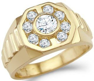 Solid 14k Yellow Gold Mens Big CZ Cubic Zirconia Wedding Band Fashion Ring 1.25 ct Jewelry