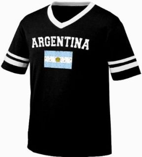 Argentina Flag International Soccer Ringer T shirt, Argentine Soccer Mens Ringer T shirt Clothing