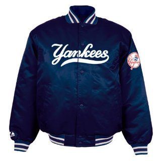 Majestic New York Yankees Navy Blue Satin Jacket (X Large)  Sports Fan Outerwear Jackets  Sports & Outdoors