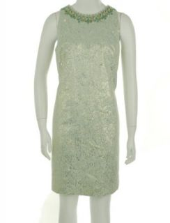 Maggy London Beaded Gold Foil Dress Light Blue Gold 8