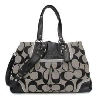 COACH Ashley Spectator Signature Carryall F17446   Black White Silver Shoes