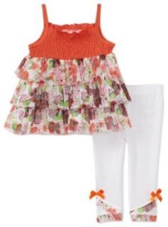 Kids Headquarters Baby girls Newborn Sleeveless Print Top with Pant, Orange, 6 9 Months Clothing