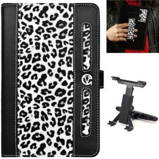 Black White Cheetah Design Dauphine Edition Protective Leather Case Cover for Visual Land Prestige 7 Internet Tablet (ME 107 8GB) + Universal Headrest Mount Cradle for 7 10 inch Tablets Computers & Accessories