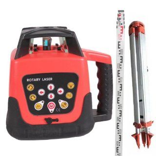 Generic Rotary Laser Level +Tripod + 5m Staff Fully Automatic Electronic Self Leveling Motorized Horizontal and Vertical Kit Rotary Rotating Red Beam Laser Level 500m Range Complete Package in One Carryring Case Hot selling