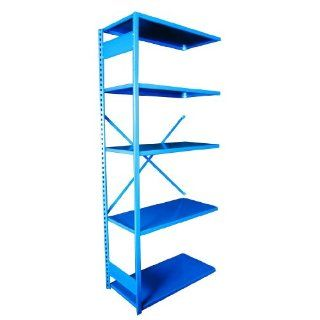 "Equipto 661W5A V Grip 18 Gauge Heavy Duty Steel Open Shelf Add On Unit with 5 Shelves, 430 lbs Shelf Capacity, 48"" Width x 84"" Height x 12"" Depth, Regal Blue"